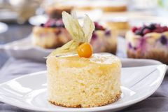Pineapple cake with fresh pineapple stock photo