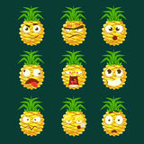 Pineapple Cartoon Emoji Portaraits Fith Different Emotional Facial Expressiona Collection Of Cartoon Stickers Stock Photography