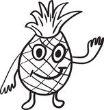 Pineapple cartoon sketch Stock Images