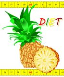 Pineapple with a centimeter tape Royalty Free Stock Photography
