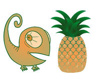 Pineapple and chameleon Royalty Free Stock Photography