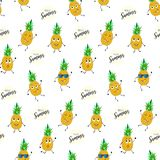 DANCING PINEAPPLE HAND DRAW TEXTURE. SUMMER HOLIDAY FEELING. SEAMLESS VECTOR PATTER. PINEAPPLE CHARACTER. SUMMER SEAMLESS VECTOR PATTERN. ABSTRACT FUNNY COLORED Royalty Free Stock Photos
