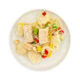 Pineapple Chicken With Water Chestnuts On Plate Top View Royalty Free Stock Photography