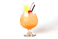 Pineapple cocktail with a cherry Stock Photos