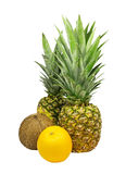 Pineapple,coco and orange isolated. Royalty Free Stock Images