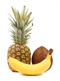Pineapple, coconut and Banana Royalty Free Stock Photos