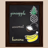 Pineapple coconut, and banana drawn by a chalk stock illustration