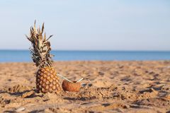 Pineapple and coconut cocktail on the Beach Ocean. 1 Royalty Free Stock Photos