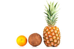 Pineapple, coconut and orange Royalty Free Stock Images