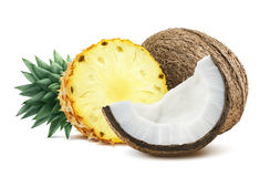 Pineapple coconut pieces composition 1 isolated on white backgro Royalty Free Stock Image
