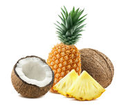 Pineapple coconut pieces composition 3 isolated on white background royalty free stock photo