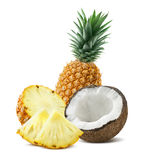 Pineapple coconut pieces composition 4 isolated on white backgro Stock Photography