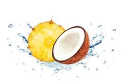 Pineapple coconut splash Stock Photos