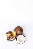 Pineapple and coconut on a white background Royalty Free Stock Image