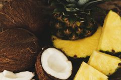 Pineapple and coconut Stock Photography