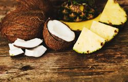 Pineapple and coconut Stock Images
