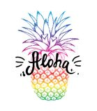 Pineapple colorful sketch isolated on white background. Aloha hand lettering, Hawaiian language greeting typography. Vector illustration for wallpaper, textile stock illustration