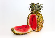 Pineapple containing a watermelon Royalty Free Stock Photo