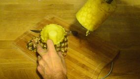 The pineapple corer-slicer stock video footage