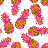 Pineapple creative trendy seamless pattern Royalty Free Stock Image