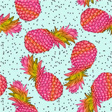 Pineapple creative trendy seamless pattern Stock Photos