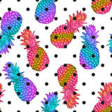Pineapple creative trendy seamless pattern Stock Image