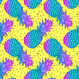 Pineapple creative trendy seamless pattern Royalty Free Stock Images