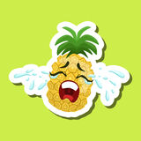 Pineapple Crying Out Loud, Cute Emoji Sticker On Green Background Stock Photos