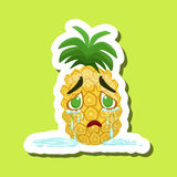 Pineapple Crying With Tears Running Down, Cute Emoji Sticker On Green Background Stock Image