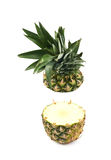 Pineapple cut in two halves isolated Stock Photography