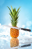 Pineapple and knife Stock Images