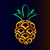 Pineapple. 3d pineapple neon tubed logo rounded.  Great for Poster, Sale Banner, Advertising. Isolated on dark gradient background Royalty Free Stock Image