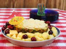 Pineapple dip in half a pinapple Stock Photography