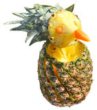 Pineapple doll. Ripe pineapple carving isolated on white background Stock Image