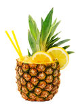Pineapple drink. Tasty drink in pineapple isolated on white background stock photography