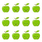 Kawaii green apple. Cute emoticon face on a white background. Emoticon icon. royalty free illustration