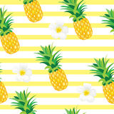 Pineapple with Exotic Flowers Seamless Pattern. Tropical Summer Illustration for wallpaper, background, wrapper or textile Stock Images