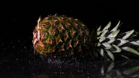 Pineapple falling on wet black surface stock video footage