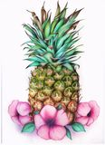 Pineapple with flowers Stock Photo