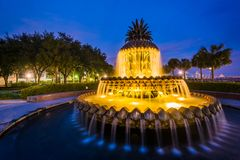 The Pineapple Fountain at night, at the Waterfront Park in Charleston, South Carolina royalty free stock images