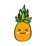 Pineapple fresh fruit comic character Stock Photos