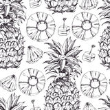 Pineapple fresh seamless pattern Stock Photos