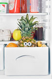 Pineapple in fridge Stock Photo