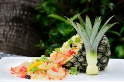 Pineapple Fried Rice. On the table royalty free stock photo