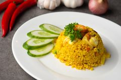 Pineapple fried rice. With background stock images