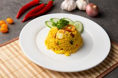 Pineapple fried rice. With background stock image
