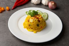 Pineapple fried rice. In restaurant stock photos