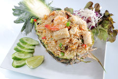 Pineapple fried rice seafood royalty free stock image