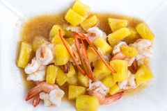 Pineapple fried shrimp Thaifood. At Thailand stock photo
