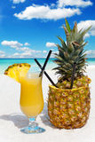 Pineapple fruit and cocktail Royalty Free Stock Photo